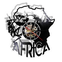 Vintage África mapa decoración vinilo disco Reloj de pared África obra de arte corte láser reloj noche luz función regalo para amante de los viajes