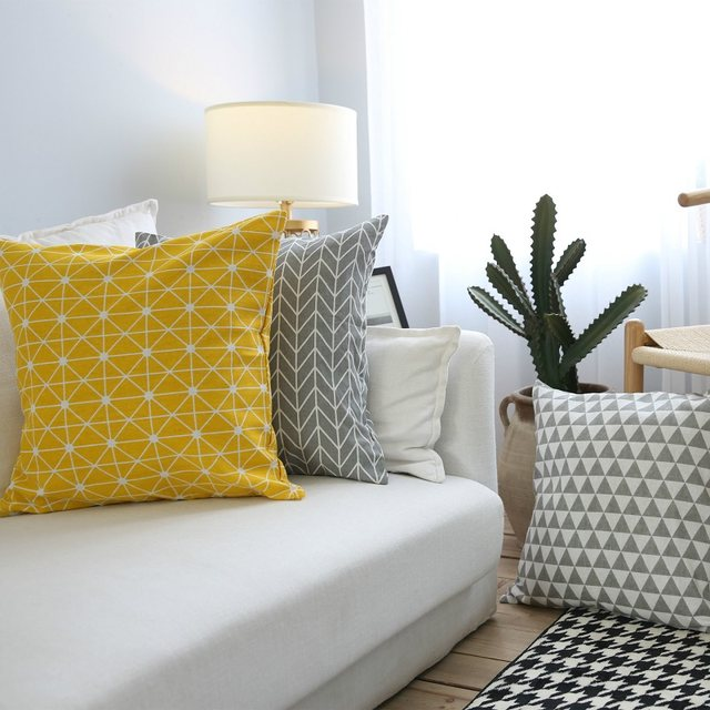 Online Shop Yellow Geometric Decorative Cushion Cover Geometric Grey Magnificent Yellow And Grey Decorative Pillows