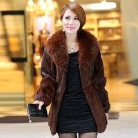 Леди Настоящее кролика пальто куртка с меховым воротником зимняя женская меховая Верхняя одежда Пальто Одежда VK1030