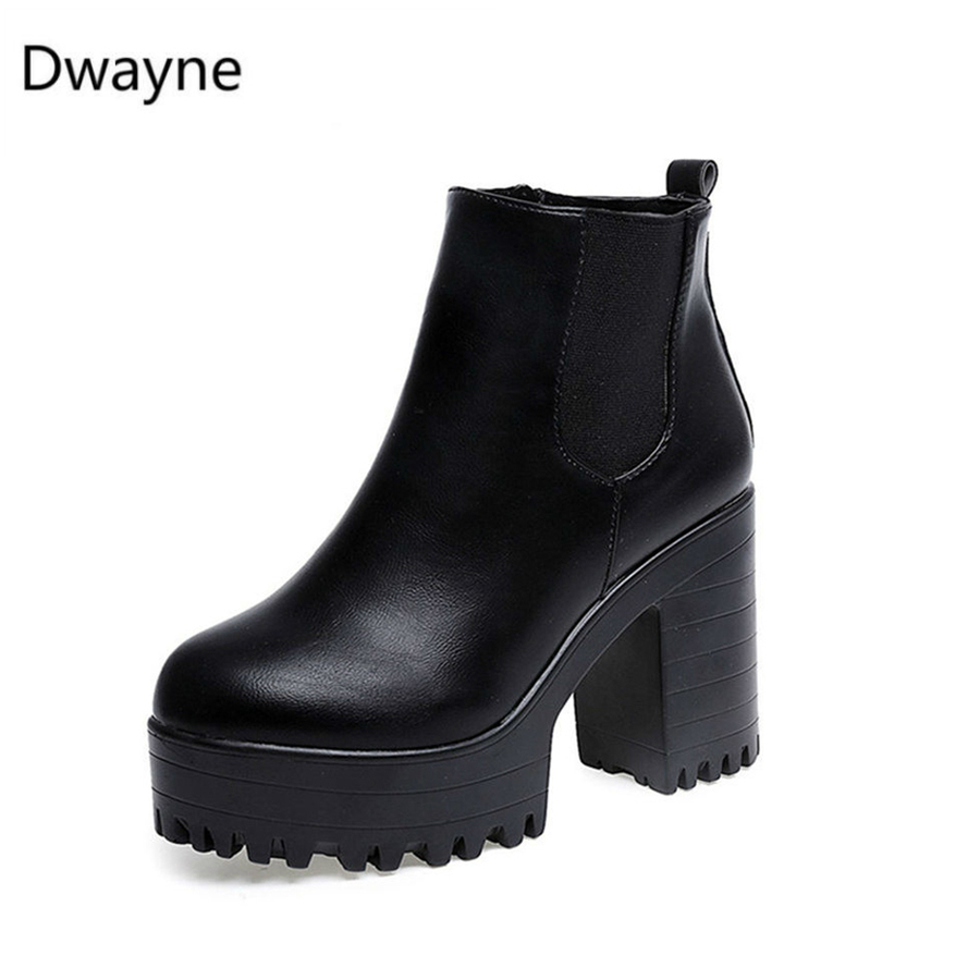 Dwayne Women Boots Heel Platforms Motorcycle-Shoes Square Thigh Fashion Mujer PU Zapatos