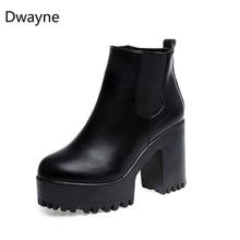 Дуэйн Женские Модные Ботинки квадратный каблук на платформе zapatos mujer до бедра из искусственная кожа PU насос высокого сапоги мотоциклетная обувь
