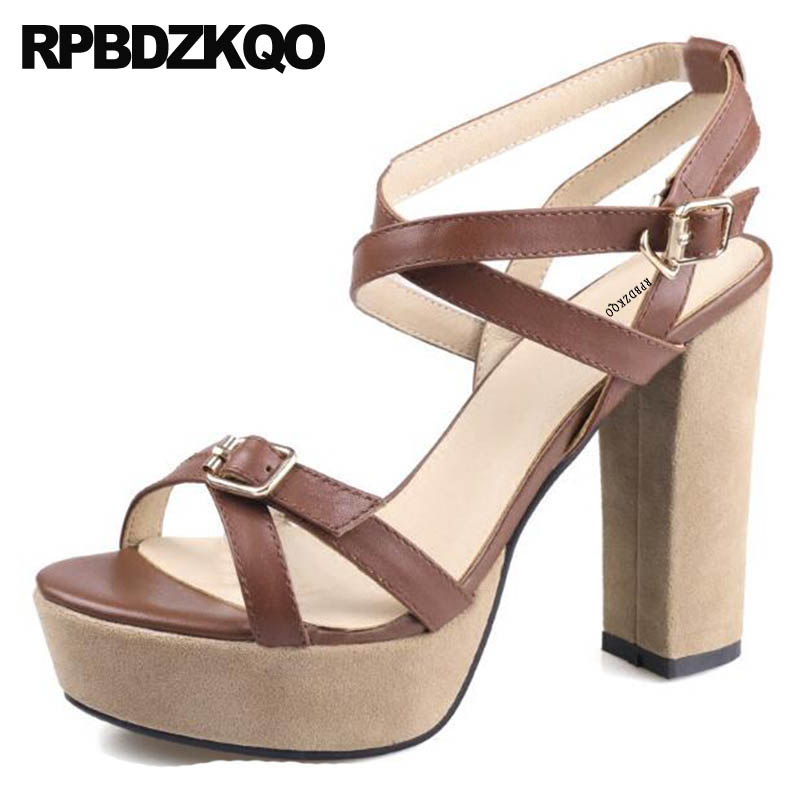 Luxury Women Ladies Shoes Genuine Leather Chunky Square Platform Ankle Strap Brown Pumps Vintage Gladiator Sandals Heels Thick women chic champagne patent leather sandals square thick high heels pumps covered heel single strap gladiator shoes golden pumps