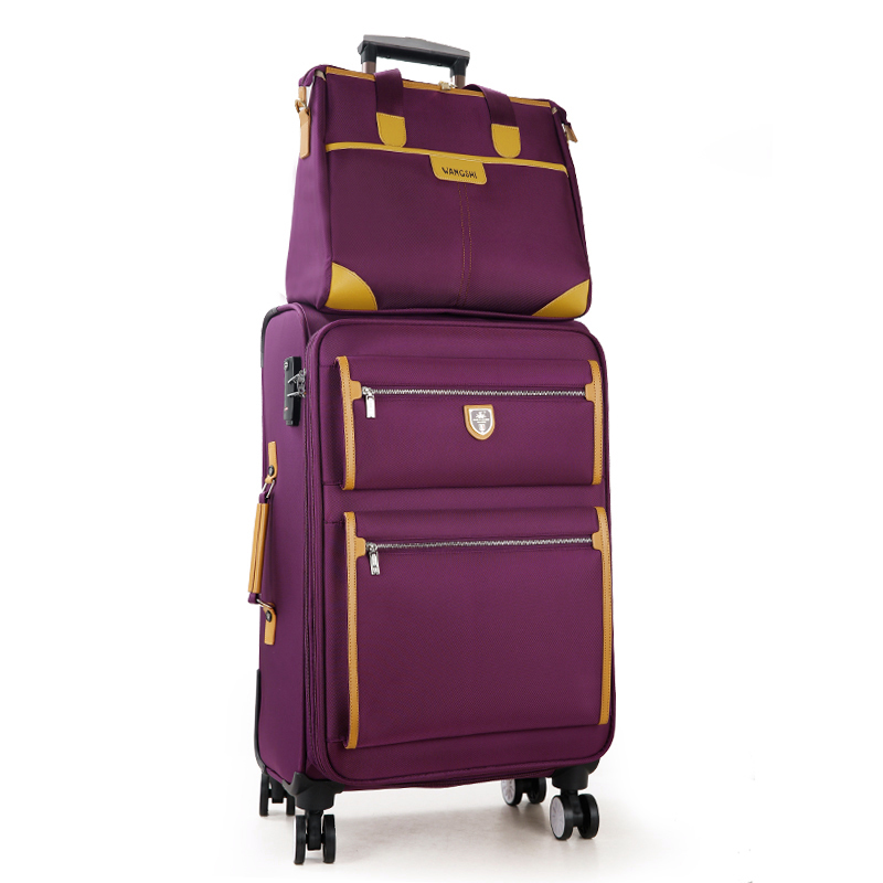 Commercial universal wheels trolley luggage oxford fabric box general 18 22 24inches sets(sold by 2pieces/set),purple