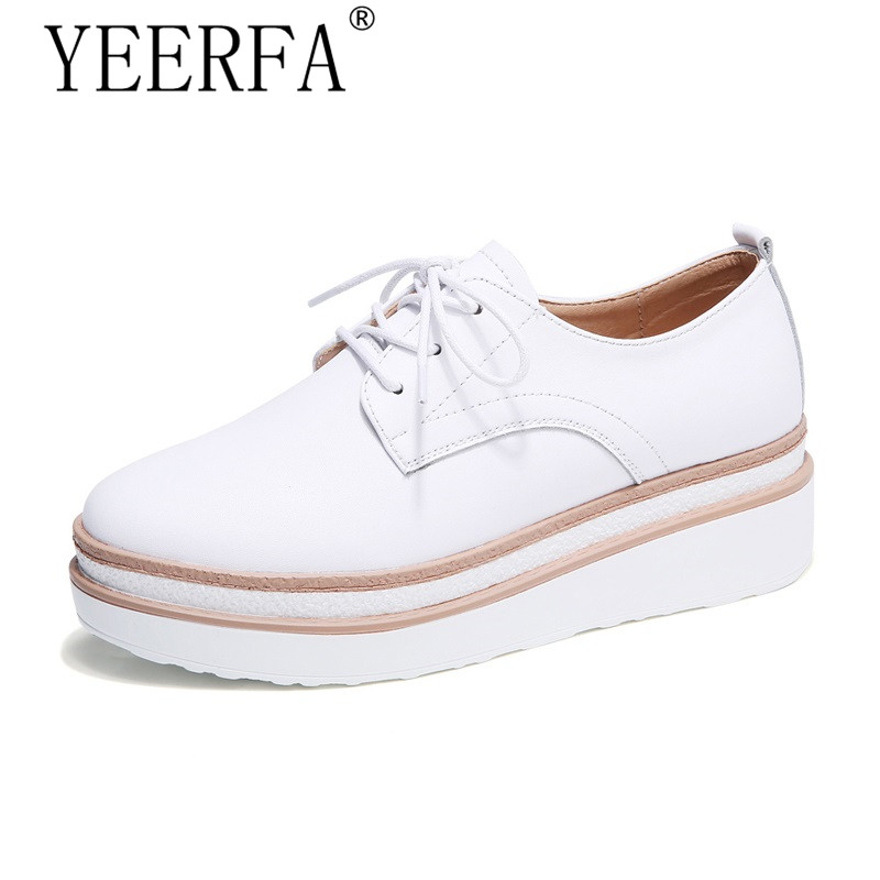 2018 Spring women platform sneakers shoes white genuine leather lace up flats women thick heel flats creepers shoes vtota women genuine leather oxfords sneakers women white flat shoes spring platform shoes zapatos mujer lace up casual flats f93
