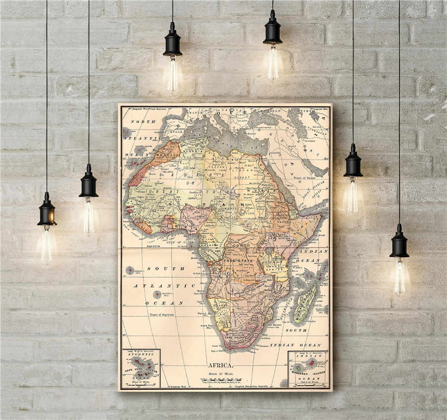 Classic Africa Map Realistic Geography Clear Lines And Descriptions Vintage Canvas Wall Art Sticker Retro Home Decoration Poster