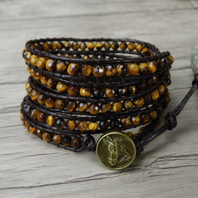Bead Wrap Bracelet Tiger Eye Boho Men Leather Beads Jewelry