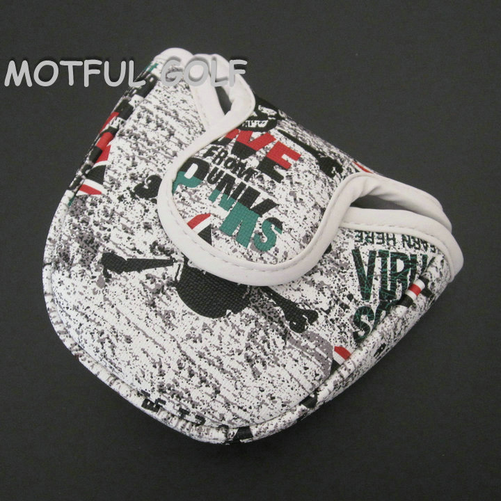 Semicircle Golf Putter Headcover Putters Head Cover PU Covers Union Jack SKULL Printed Cover Half Round