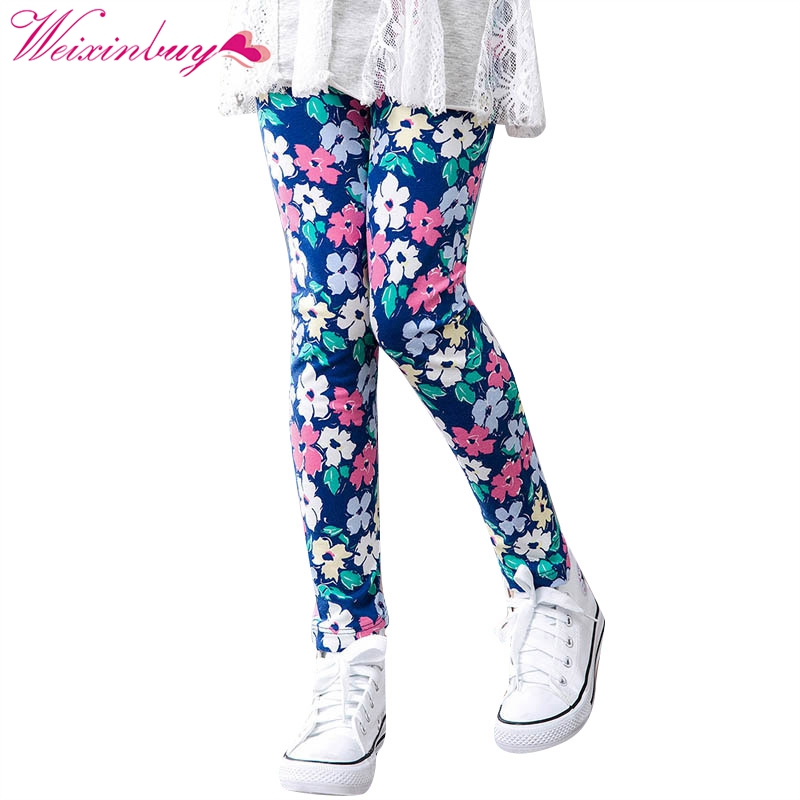 Baby Children Girls Printing Flower Print Legging Toddler Classic Leggings Girl Long Pants Kids Pencil Pants Leggings 2-14Y