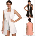 Women White Black Pink long vest coat Europen style waistcoat sleeveless jacket Turn down collar outwear casual top Roupa Female