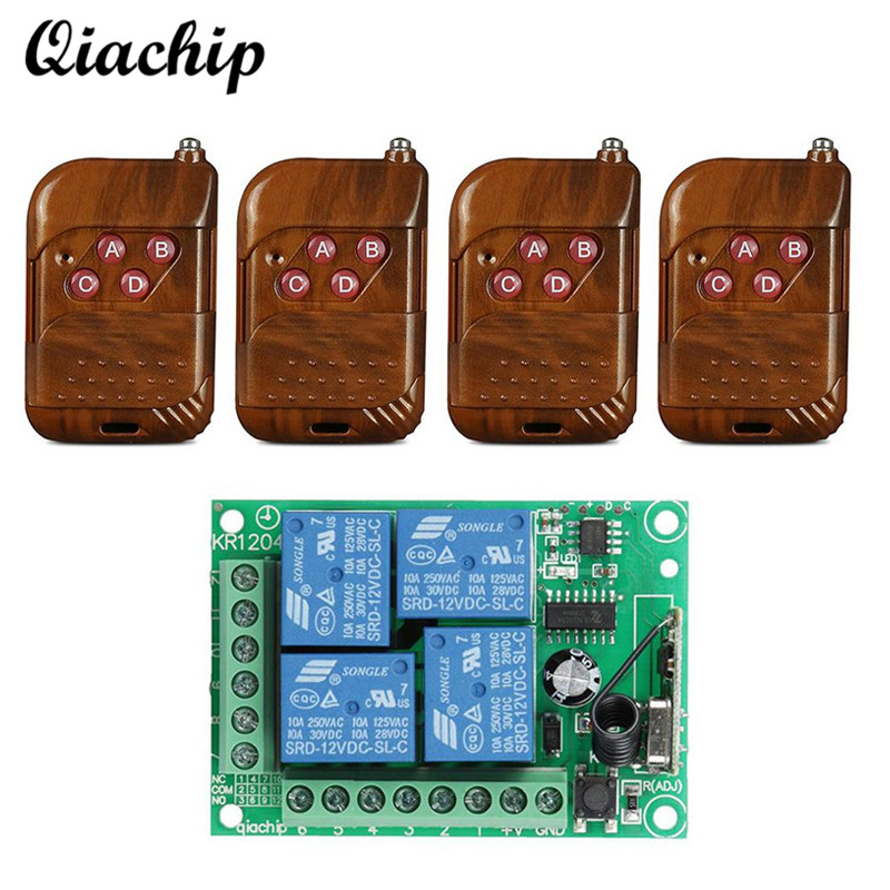 QIACHIP 433 Mhz DC 12V 4 CH Wireless RF Relay Receiver Module Remote Control Switch + 4pcs RF 433Mhz Transmitter For Smart Home
