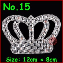3 pcs/Lot Hot Sale White Shiny crown design hot fix rhinestone,heat transfer rhinestone motif,embellishment for gament