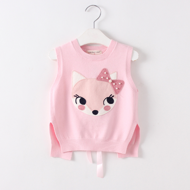2017 New Style Autumn Fashion Girl vest knitted Children Girls Knit Vest Sweater Fox pattern kids clothes