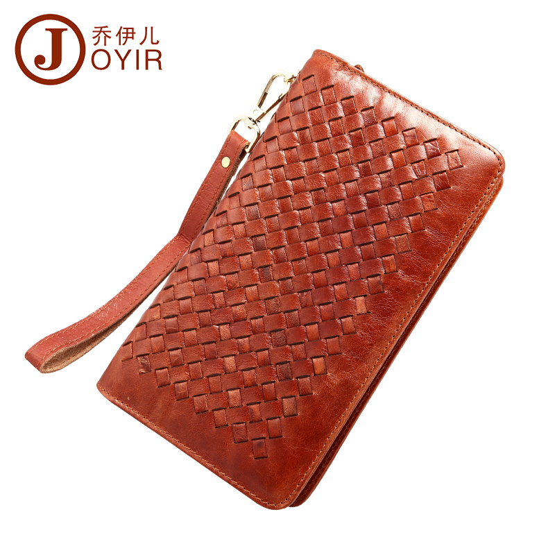 ФОТО JOYIR Hot fashion men's genuine leather wallet clutch purse travel long wallets bag wholesale knitting style men wallets JOYIR