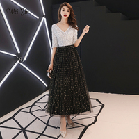 weiyin 2019 Black White Sequined Long Evening Dresses Half Sleeves Elegant Women Formal Gowns Mother of the Bride Dresses WY1203
