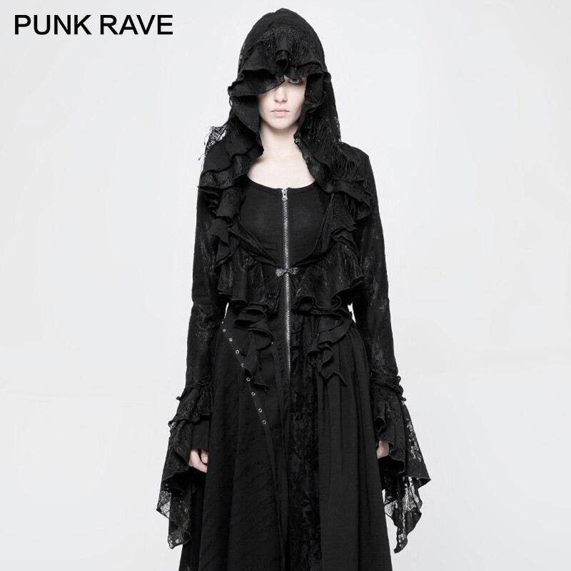 PUNK RAVE gothique Lolita noir femmes veste manteau Steapunk Vintage à capuche dentelle maille à volants mystère sorcière court manteau extérieur