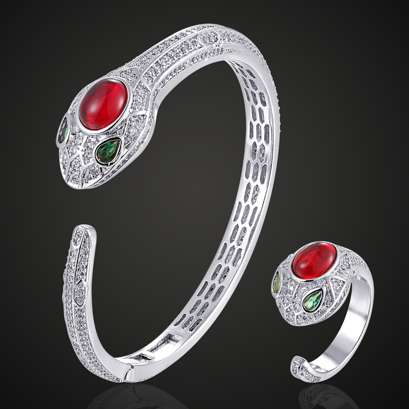 Zlxgirl jewlery Red blue real stone snake bangle ring sets Europe Design Cubic Zircon Bangle Bijoux