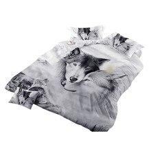 늑대 커플 침구 키즈 3d 침구 멋진 회색 늑대 이불 커버 세트 3 pcs 3d 그림 이불 커버는 달콤한 꿈을 퇴색시키지 마십시오