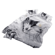 Wolf Couples Bedding Kids 3D Bedding Cool Grey Wolf Duvet Cover Set 3 Pcs 3D Painting Duvet Cover  Do not fade sweet dreams все цены