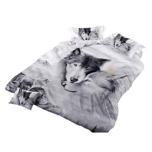 Wolf Couples Bedding Kids 3D Bedding Cool Grey Wolf Duvet Cover Set 3 Pcs 3D Painting Duvet Cover  Do not fade sweet dreams