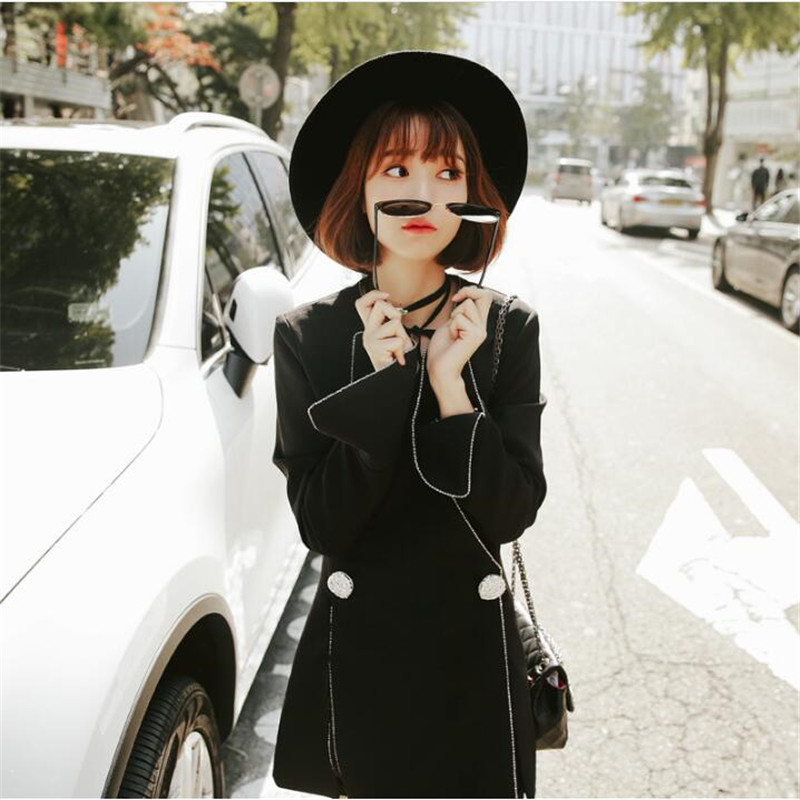 Hot Sale Blazers Women 2018 Spring Autumn Loose Casual Double Breasted Long Women Suits Black Color Womens Jacket A3971