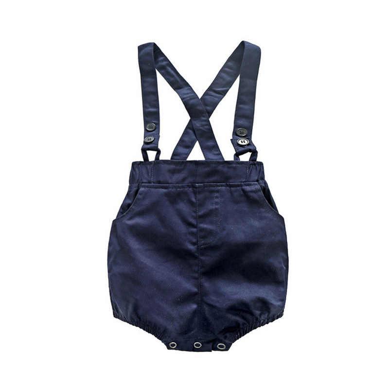 Baby Romper Pasgeboren Jongen Kleding Katoen Gedrukt Top + Strap Shorts 3-24M Baby Pak Vlinder Strikje baby Romper Kids Uitloper