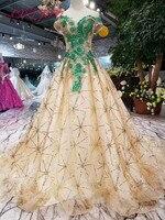 AXJFU роскошный вырез лодочкой Золотой кружевной зеленый цветок вечернее платье Винтаж Сверкающее, расшитое бисером вечернее платье 100% насто