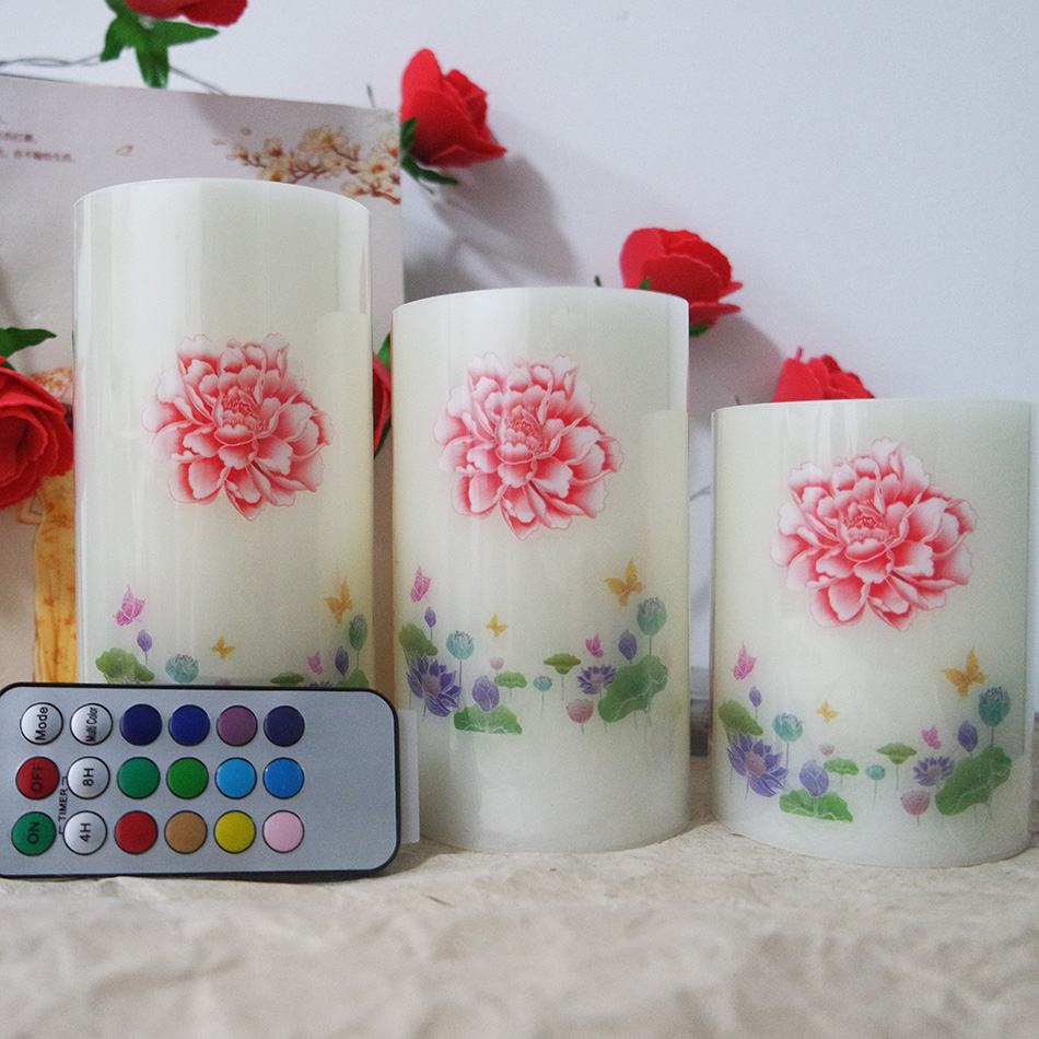 3 pcs/set flameless floral led wax candle light with RGB remote,Made by real wax with flicker light, Novelty led night light