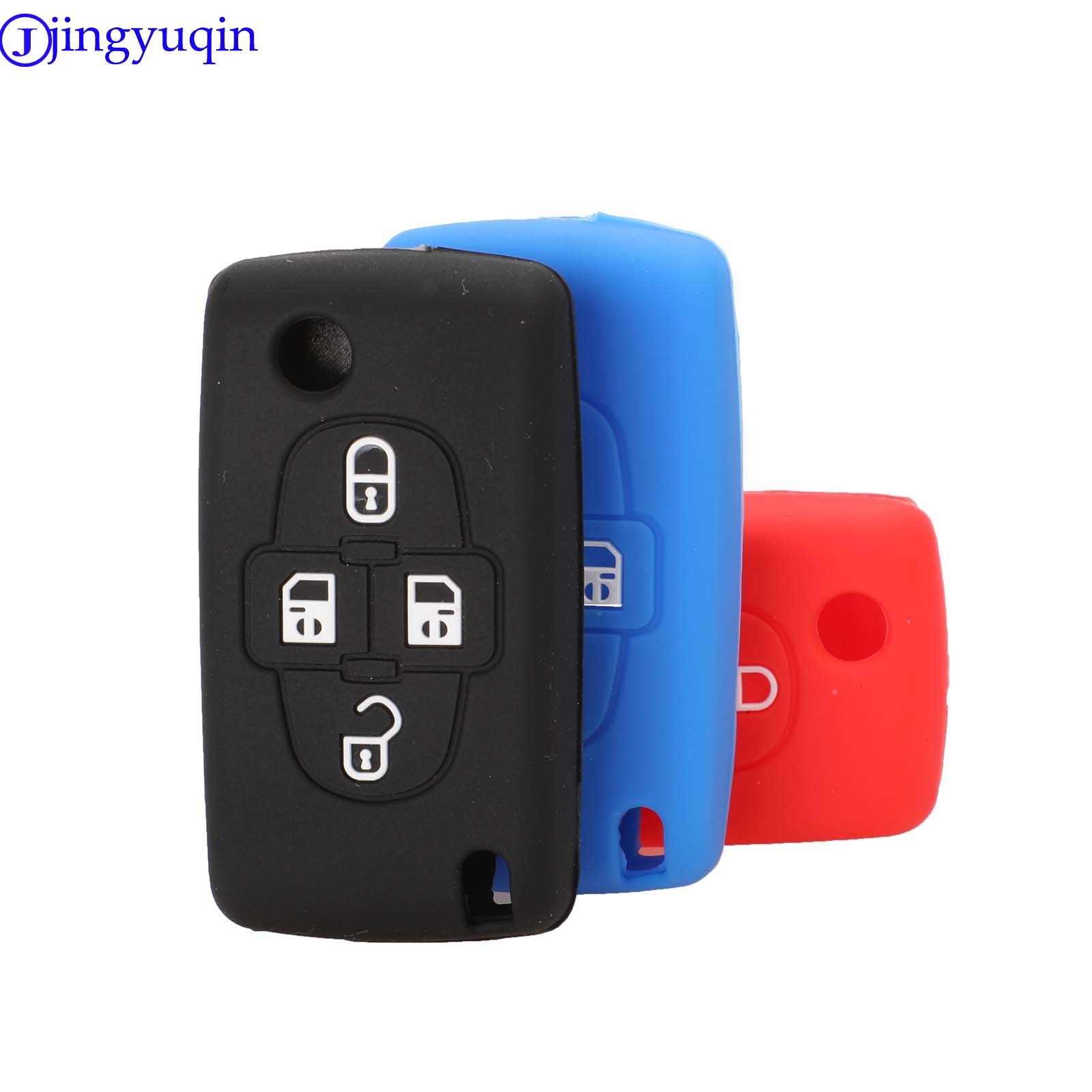 Jingyuqin Remote Key Silicone Cover Case Car Key For Peugeot 1007 807 For Citroen C8 4 Buttons Folding Flid