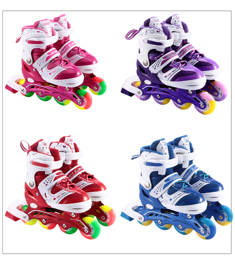 1 Pair Teenagers Children Inline Skate Roller Skating Shoes Adjustable Washable PVC Hard  Wheels Patines Kids1 Pair Teenagers Children Inline Skate Roller Skating Shoes Adjustable Washable PVC Hard  Wheels Patines Kids
