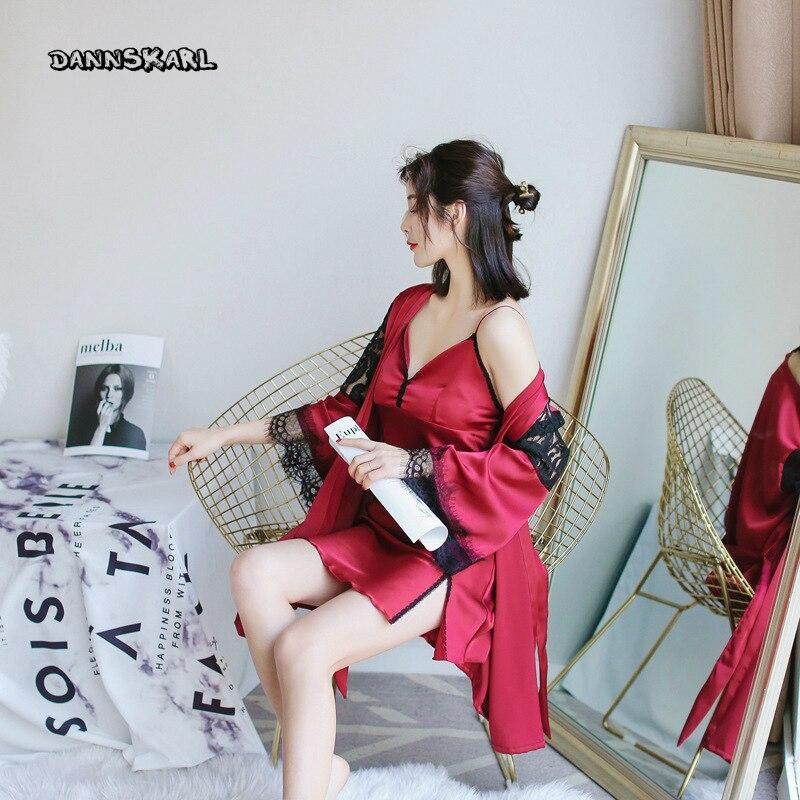 Zielsetzung Frühling Neue Produkt Frauen Sexy Dessous Seide Robe Sets Sling Nachthemd Bh Langarm Pyjamas Zwei Stück Anzug Von Einrichtungs Ms Nachthemd & Bademantel-sets Unterwäsche & Schlafanzug