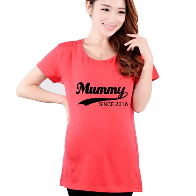 2016 de maternidad del verano camisas divertidas mamá a-ser embarazo camiseta mujeres embarazadas Tops camisetas ropa ropa más del tamaño Premama ropa del desgaste