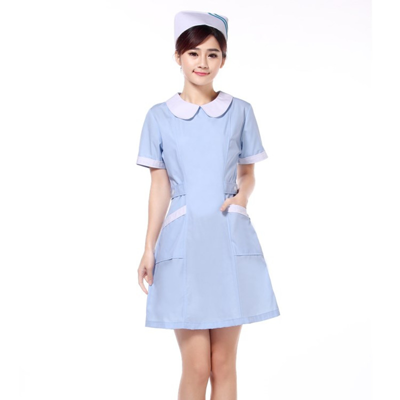 2018 Summer New Doll Collar Nurse Uniform Dress Hospital Cheap Short Sleeve Summer Work Clothing Beauty Salon SPA Uniforms