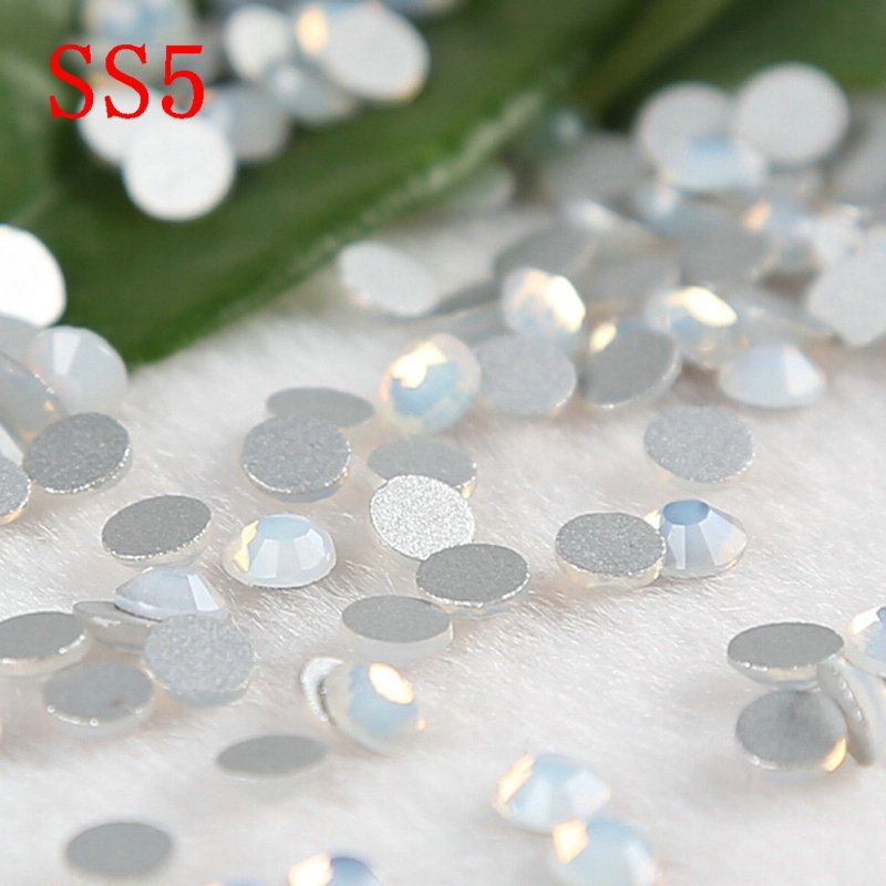 1440pcs ss5 Glass whiteopal Stones Machine Cut Strass Non Hot Fix Rhinestones For Nail Art in Rhinestones from Home Garden
