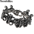 Trendsmax 27mm Wide Heavy Mens Chain Boys Gothic Biker Snake Cobra Link 316L Stainless Steel Bracelet Drop Ship Jewelry HB93