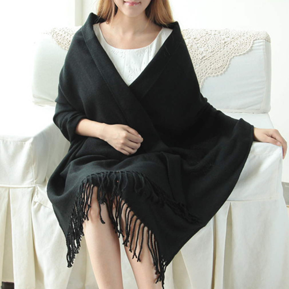 170 X 73 Cm Winter Oversize Scarves Simple Fashion Warm Blanket Unisex Solid Wrap Cashmere Scarf Shawl Pashmina