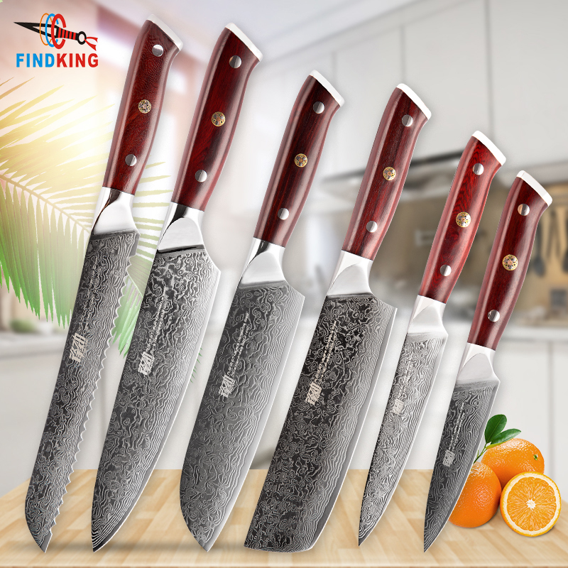 FINDKING 6 PCS AUS-10 Damascus Steel Rosewood Wood Handle Damascus Knife Set 67 Layers Chef Utility F Knife