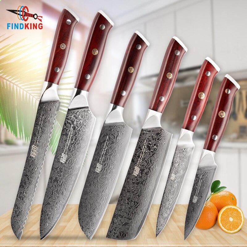 Findking 6 pçs AUS-10 damasco aço rosewood madeira lidar com damasco faca conjunto 67 camadas chef utilitário f faca