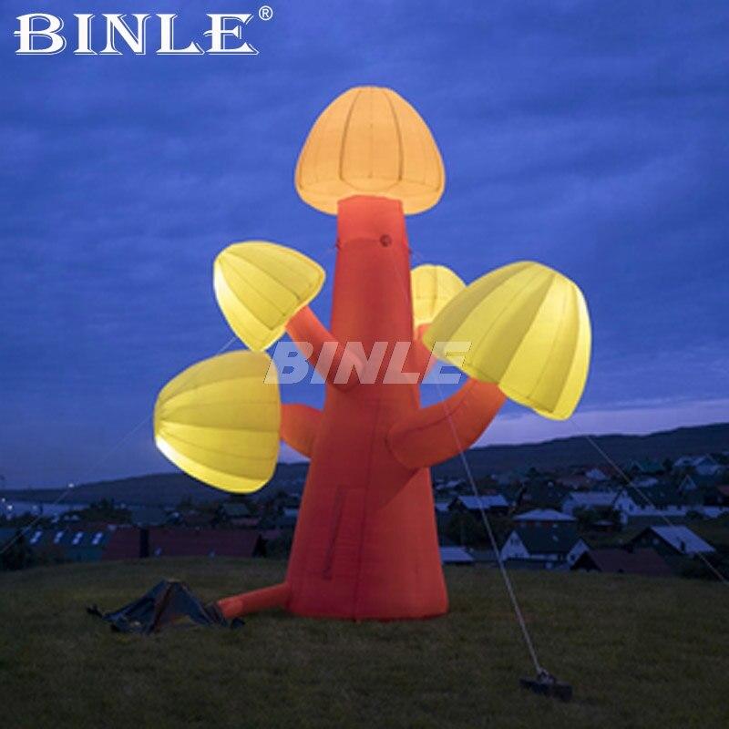Offre spéciale en plein air grand LED orange éclairage air soufflé gonflable champignon arbre pour événement, fête, spectacle décoration