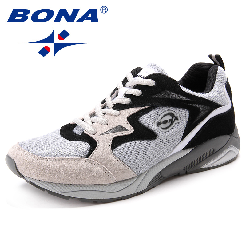 BONA New Classics Style Men Running Shoes Suede Mesh Men Athletic Shoes Lace Up Outdoor Jogging Sneakers Soft Fast Free Shipping
