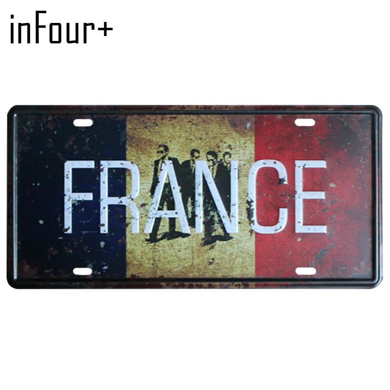 [inFour+] Hot France Flag Plate Metal Plate Car Number Tin Sign Bar Pub Cafe Home Decor Metal Sign Garage Painting Plaques Signs