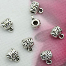 TJP 30 pcs Tibetan Silver Tone Bucket Barrel Round Connector Spacer Beads Charms for Bracelets DIY Jewelry Making Findings 6X8mm