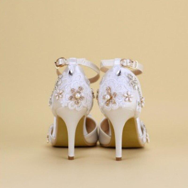Femmes Talons 2018 Cheville Mode Strass Fête Pointu White Chaussures Sandales Fleur Hauts Bout Dentelle Décoration Perle Sangle Mariage 8rEwEcqt4