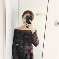 Korean version slash neck off shoulder fashion all-match single breasted plaid women shirts with sashes long sleeve shirt