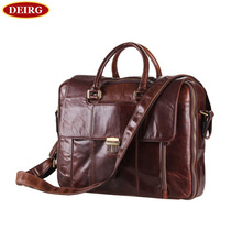 Handmade Classic Genuine Leather Coffee Glossy Cowhide Men Briefcase Business Handbag Tote Bag Fit For 15 inch Laptop PR097227