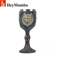 HeyMamba 3D Lion King Stainless Steel Beer Steins Personality Whiskey Resin Glass Goblet Decor Wine Goblet