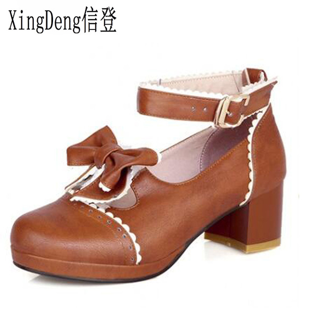 XingDeng Spring And Autumn Princess Sweet Bowknot Lolita Shoes Thick High  Heel Pumps Round Toe Platform Shoes Plus Size 33-43 fdb8ee9d1634