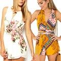 New Fashion 2016 Abrir Voltar Solto Mulheres Verão Elegante Chiffon Flor Macacão Macacão Boho Bodycon Playsuit Macacão Roupas