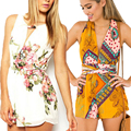 New  Fashion 2016 Open Back Loose Summer Women Elegant Chiffon Jumpsuit Flower Boho Rompers Bodycon Playsuit Overalls Clothing