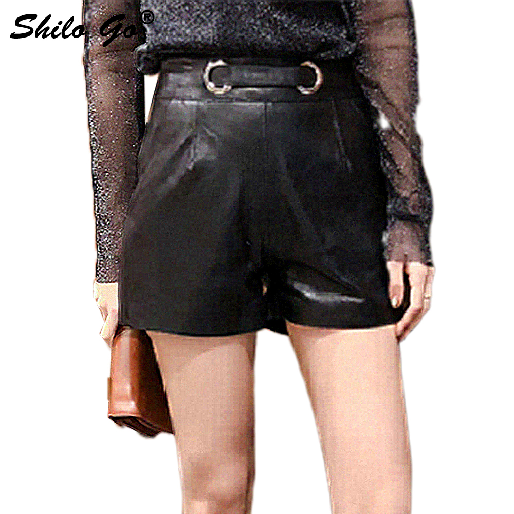 Leather Shorts Womens Spring Fashion Sheepskin Genuine Leather Shorts High Waist Round Metal Belt Concise Straight Shorts