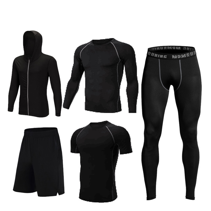 2019 Warm 5pieces set Sports Running Sets Men Quick Dry Basketball Jogging Suits Compression Sports Gym